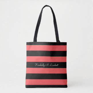 Hot Red & Black Stripe Personalized Tote Bag