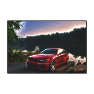 Hot Red Car Oil Painting Print Wrapped