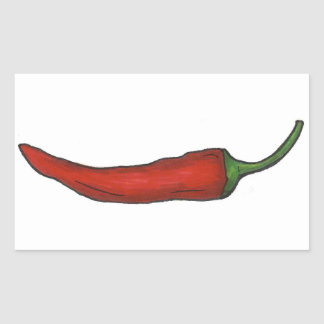 Hot Red Chili Pepper Spicy Chile Peppers Vegetable Rectangular Sticker