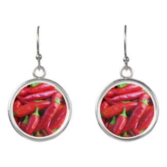 Hot Red Chili Peppers Drop Earrings