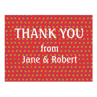 Hot Red Dots Thank You Card - Wedding Post Card