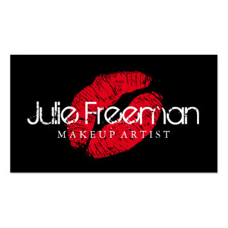 Hot Red Lips Kiss Makeup Artist Salon Card Double-Sided Standard Business Cards (Pack Of 100)
