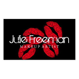 Hot Red Lips Kisses Makeup Artist Salon Card Double-Sided Standard Business Cards (Pack Of 100)