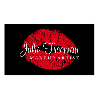 Hot Red Lips Makeup Artist Salon Card Double-Sided Standard Business Cards (Pack Of 100)