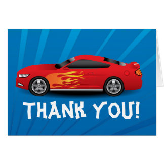 Hot Red Race Car Flames Boy's Birthday Thank You Greeting Cards