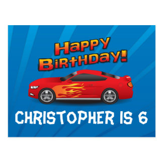 Hot Red Race Car with Flames Boy s Birthday Party Postcard