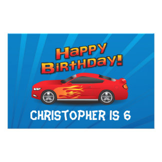 Hot Red Race Car with Flames Boy's Birthday Party Flyer
