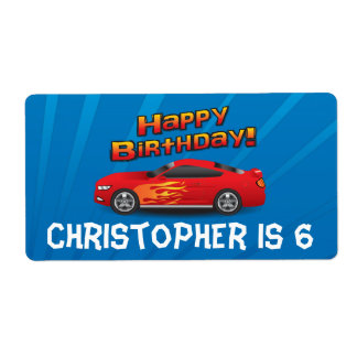 Hot Red Race Car with Flames Boy's Birthday Party Label