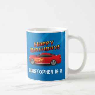 Hot Red Race Car with Flames Boy's Birthday Party Mugs