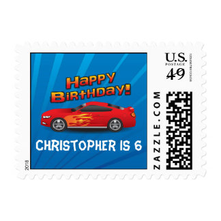 Hot Red Race Car with Flames Boy's Birthday Party Postage