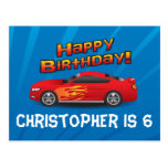 Hot Red Race Car with Flames Boy's Birthday Party Postcard