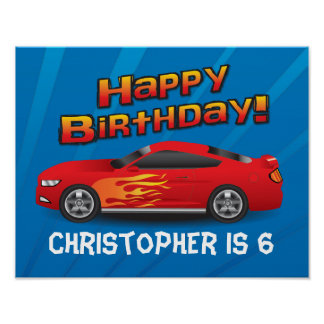 Hot Red Race Car with Flames Boy's Birthday Party Poster