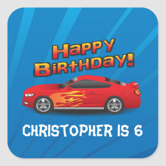 Hot Red Race Car with Flames Boy's Birthday Party Square Sticker