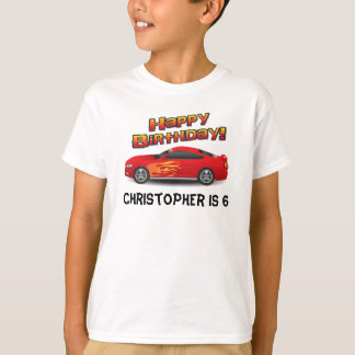 Hot Red Race Car with Flames Boy's Birthday Party T-Shirt