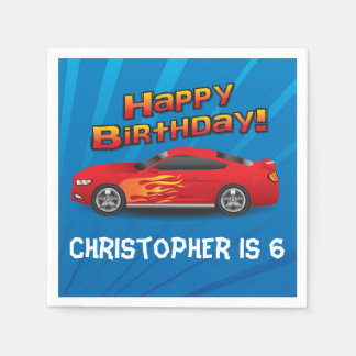 Hot Red Race Car with Flames Boy's Birthday Party Paper Napkins