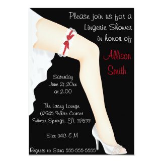 Hot Red & White Lace Lingerie Bridal Shower Card