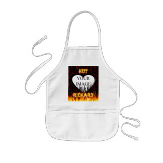 Hot Richard fire and flames red marble Kids' Apron
