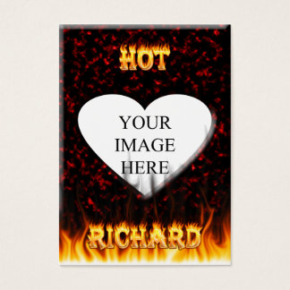 Hot Richard fire and flames red marble Business Card