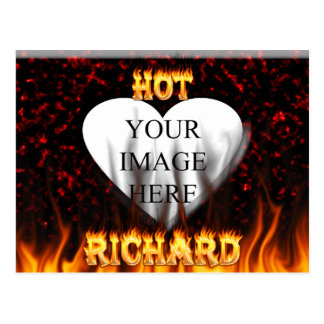 Hot Richard fire and flames red marble Postcard