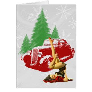 Hot Rod and Pin Up Christmas Greeting Card