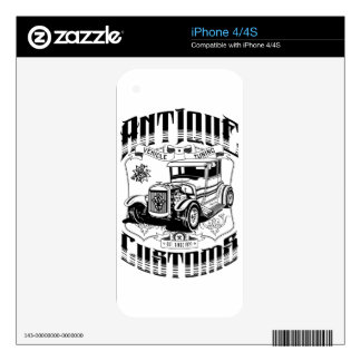 Hot Rod - Antique Customs (black) Decal For The iPhone 4