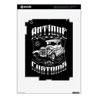 Hot Rod - Antique Customs (white) Decal For iPad 3