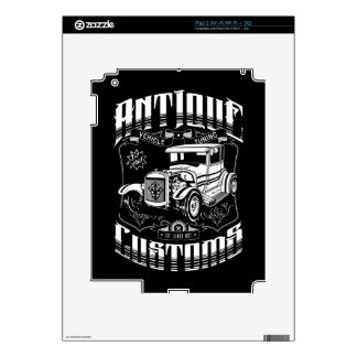 Hot Rod - Antique Customs (white) Skins For The iPad 2