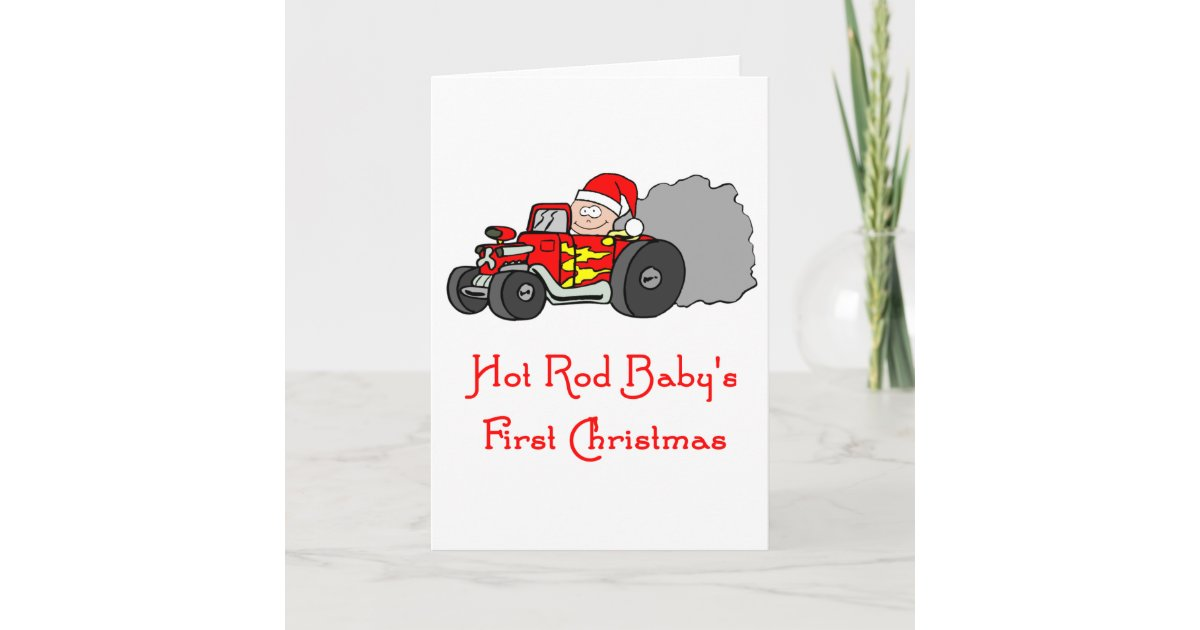 Hot Rod Baby\'s First Christmas Holiday Card | Zazzle.com
