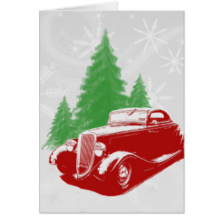 Hot Rod Christmas Greeting Cards