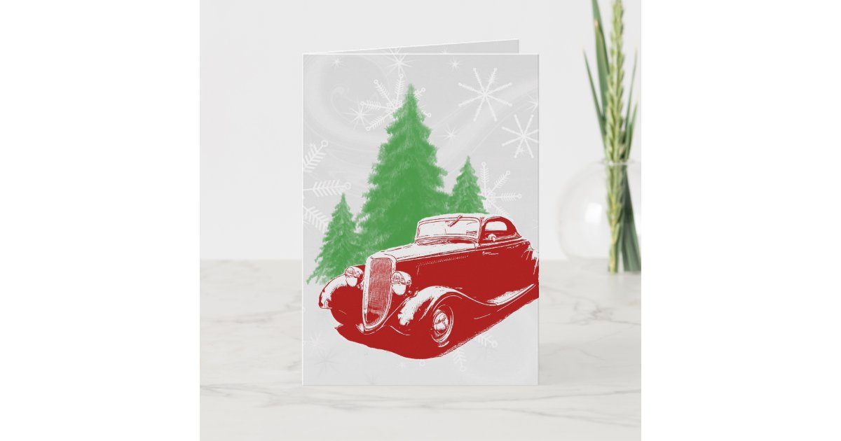 Hot Rod Christmas Holiday Card | Zazzle.com