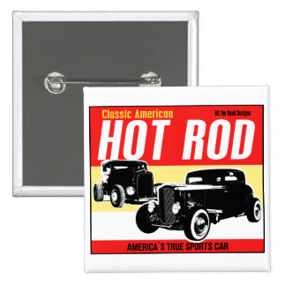 Hot Rod - Classic American Sports Car Button