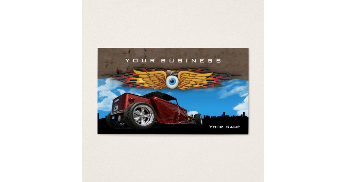 Hot Rod Earthmonster Business Card   Zazzle.com