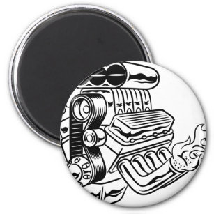 hotrod refrigerator magnets zazzle Chevrolet Malibu 1970 4-Doors hot rod engine magnet