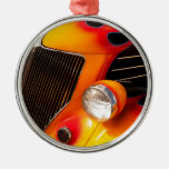 Hot Rod Flames Round Metal Christmas Ornament