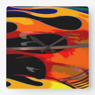 Hot Rod Flames Square Wall Clock