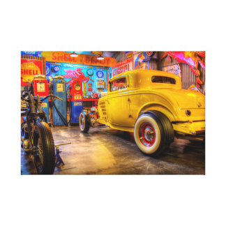 Hot Rod Garage 1 Wrapped Canvas