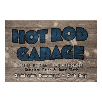Hot Rod Garage Sign - Customized Poster