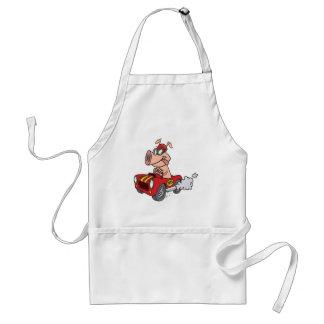 hot rod hog pig racing in car cartoon adult apron