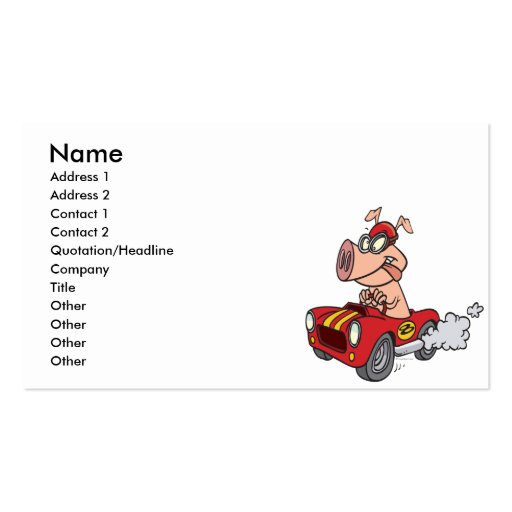 hot rod hog pig racing in car cartoon Double-Sided standard business cards (Pack of 100)