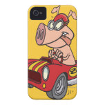 hot rod hog pig racing in car cartoon iPhone 4 cases