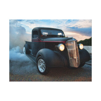 hot rod pickup truck burn out canvas print