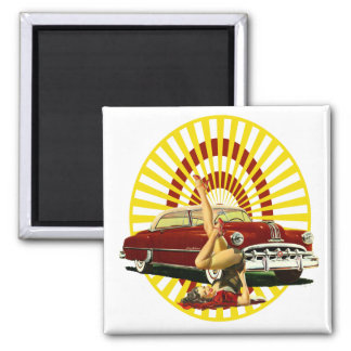 Hot Rod Pin Up Girl 2 Inch Square Magnet