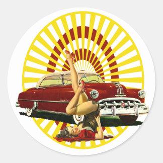 Hot Rod Pinup Girl Classic Round Sticker