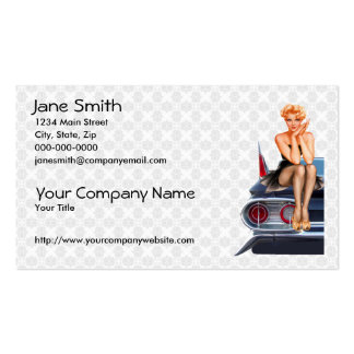 Hot Rod Pinup Girl Double Sided Standard Business Cards