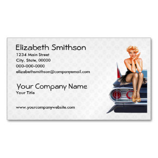 Hot Rod Pinup Girl Magnetic Business Card