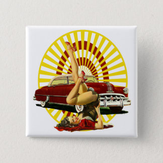 Hot Rod Pinup Girl Pinback Button