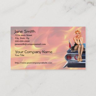 Pinup business cards templates zazzle hot rod pinup girl with flames business card colourmoves