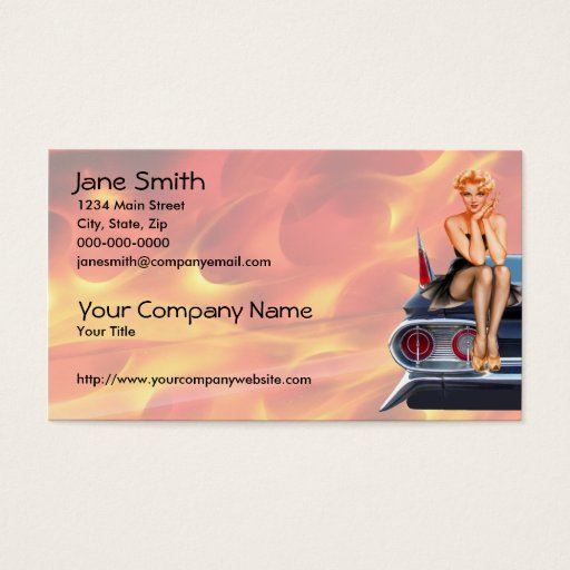 Hot Rod Pinup Girl with Flames Business Card