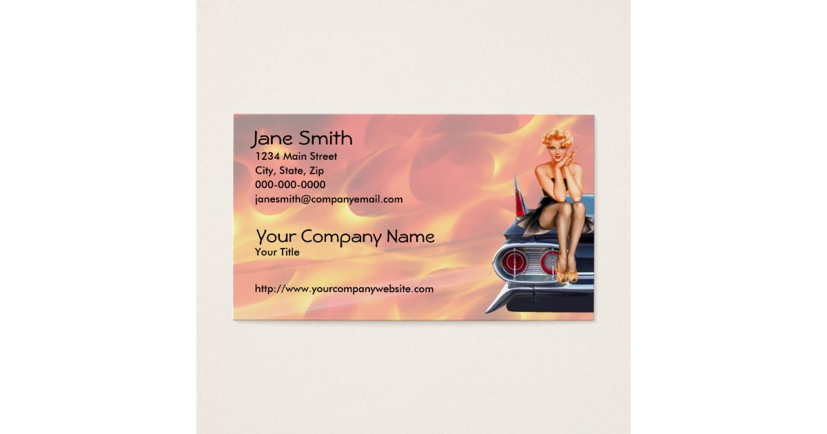 Hot Rod Pinup Girl with Flames Business Card | Zazzle.com