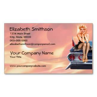 Hot Rod Pinup Girl with Flames Magnetic Business Card